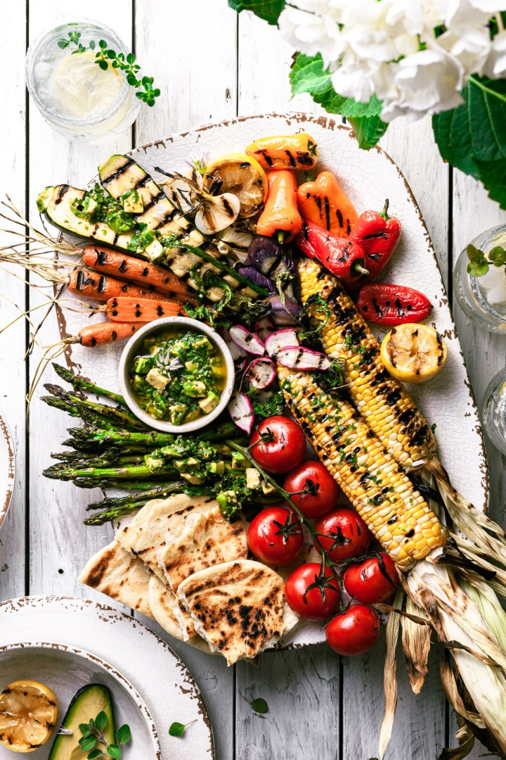 Grilled Vegetables with Avocado Chimichurri Sauce