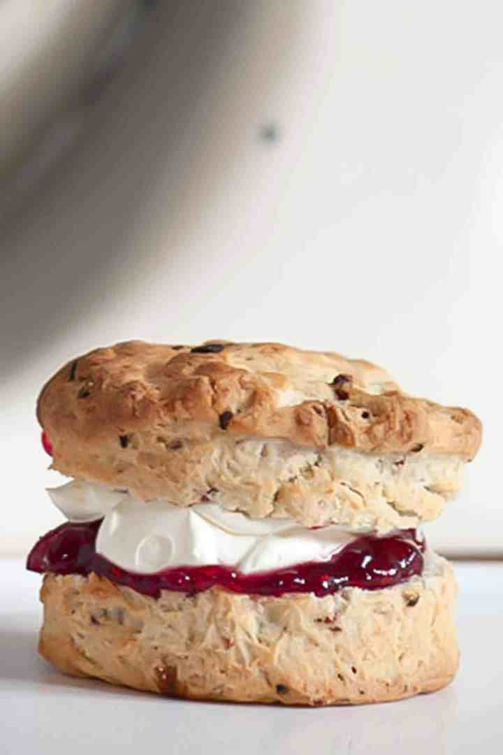 British scone filled with raspberry jam and cream