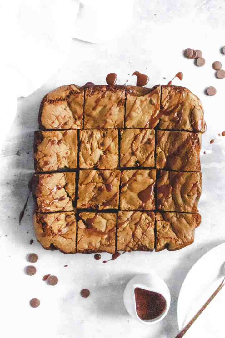 Cookie bar slices arranged into a square pattern