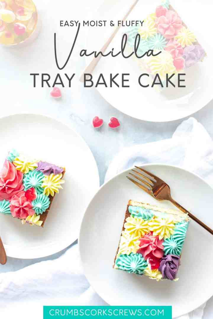 Vanilla tray bake cake on a white plate - Pinterest Image