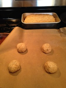 I had a bit of extra dough (my pan was small), so I formed a few rolls and baked them along side the loaf! just keep an eye on them– they won't take as long as the bread.