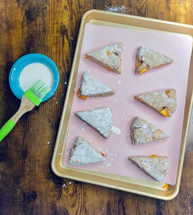 peach scones brushed with cream