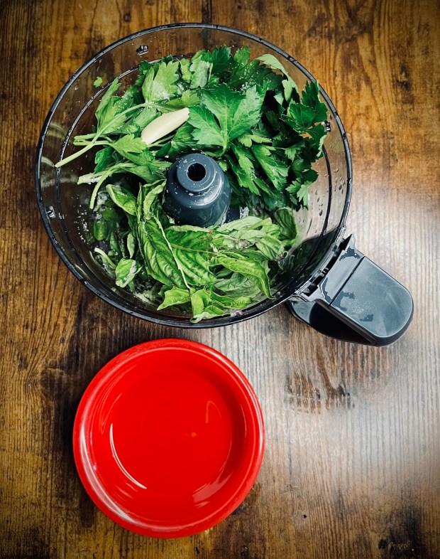basil, parsley, olive oil, salt, and garlic