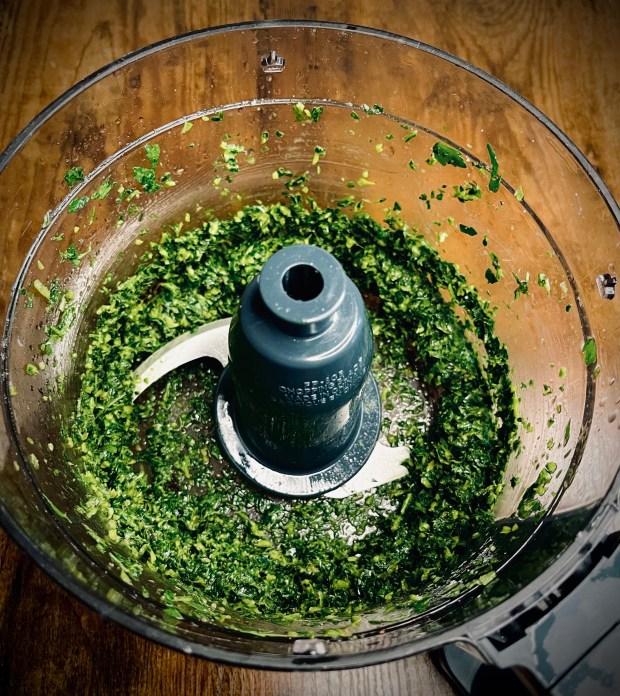 basil and parsley herb puree