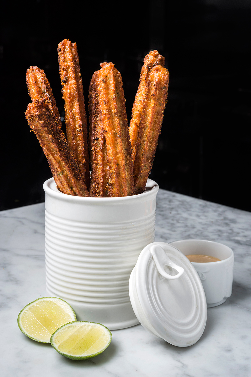 Asia de Cuba Shrimp-Churros,-Coconut-Curry