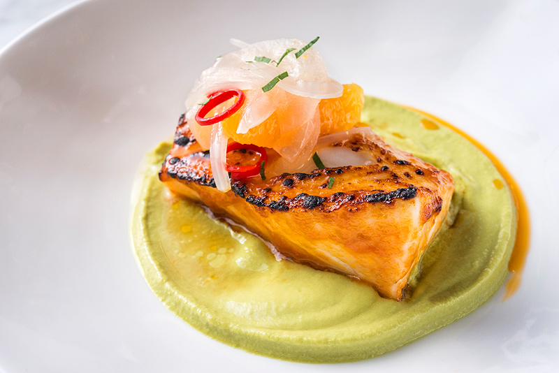 Asia de Cuba Sweet-Pepper-Glazed-Cod,-Avocado-Poblano-Puree,-Orange-Mojo