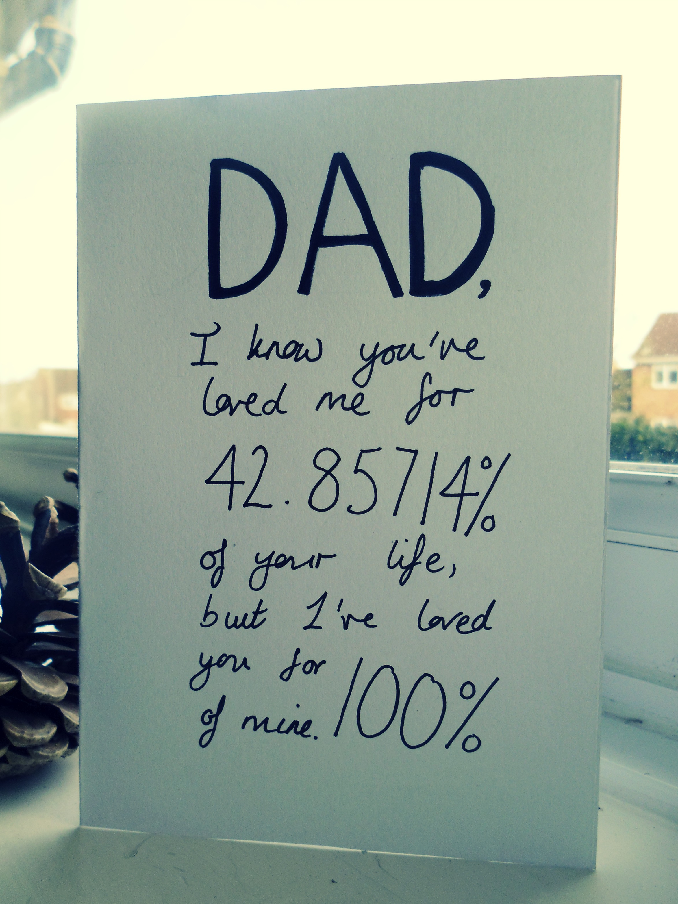 Clever Birthday Card For DAD Stating The Percentage We've