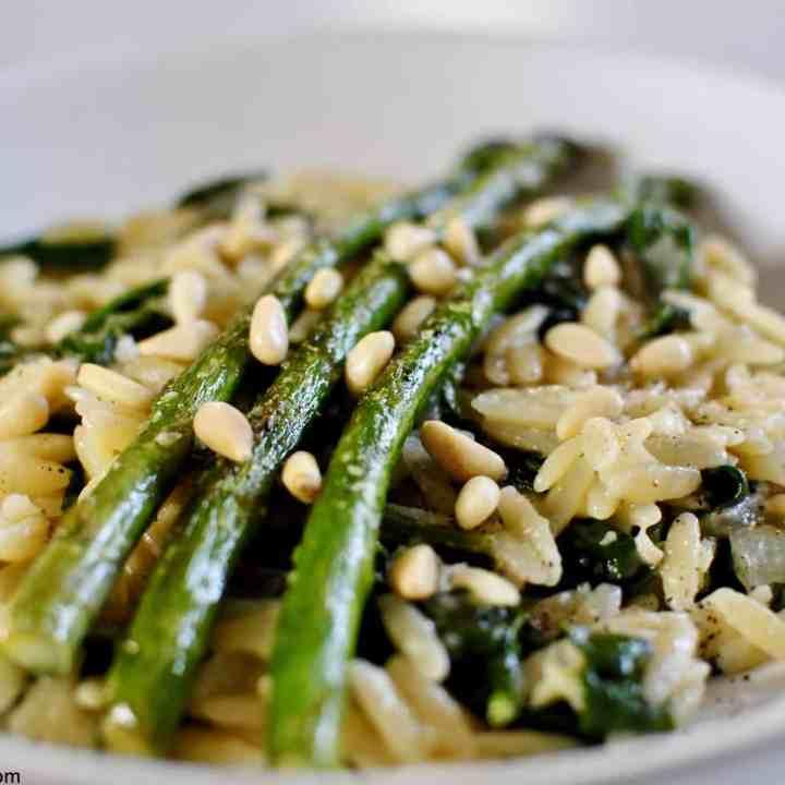 asparagus, lemon & spinach orzo risotto