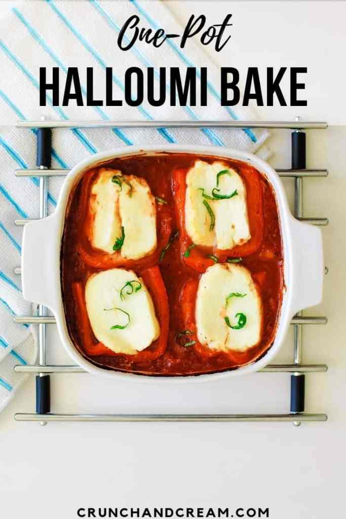 An easy dump-and bake dinner for two, this halloumi is baked in a herbed tomato sauce in roasted red pepper halves with chilli flakes for a little kick. It's quick, easy and requires pretty much no hands-on time. Plus, it's healthy and veggie-friendly!