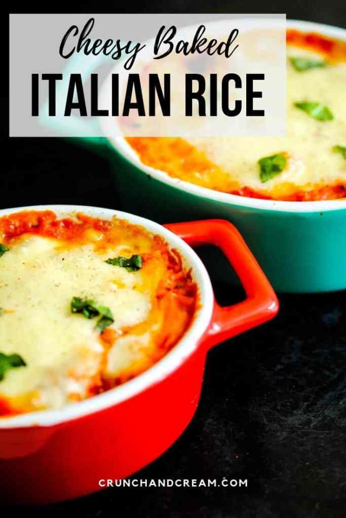This cheesy baked Italian rice is saucy, cheesy and full of veggies! It's a simple, cheap and freezer-friendly dinner with just the right amount of cheese!