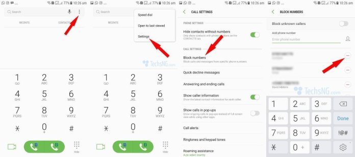 steps to unblock contacts on Samsung Galaxy J7 prime via call block settings
