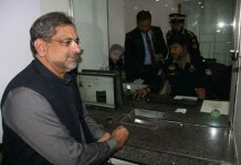Prime Minister Shahid Khaqan Abbasi in ITP office for Driving License