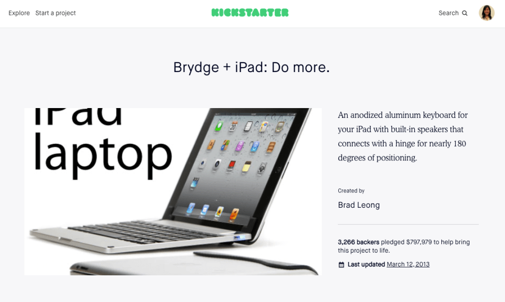 brydge is an ipad keyboard company that started with crowdfunding