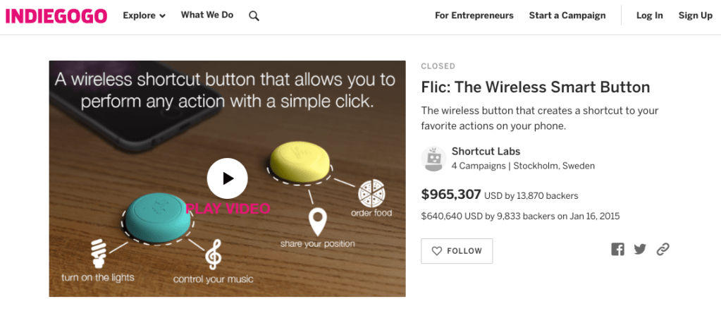 flic is a company that started with crowdfunding