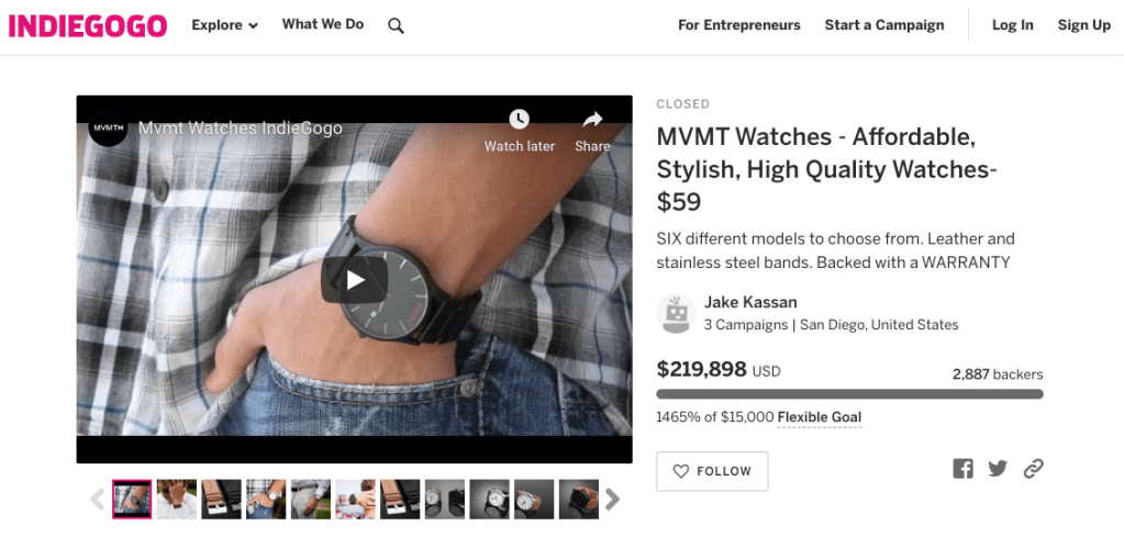 MVMT is a company that started with crowdfunding