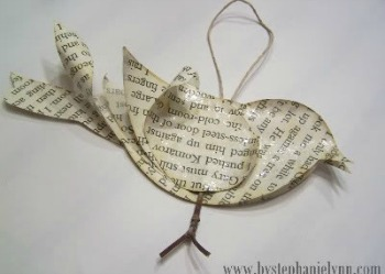 Recycled Book Page Bird Ornament