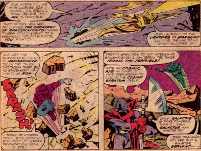Spaceknights throw down with Terrax the Tamer in Rom #26.