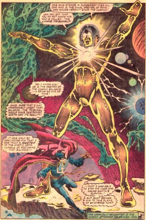 A full-page masterpiece from Rom #41, featuring Dr. Strange and the Living Tribunal.