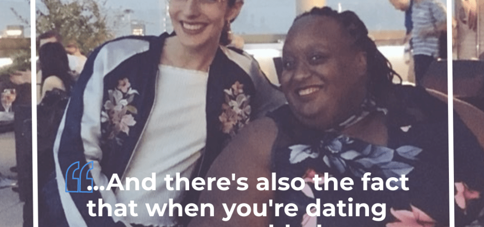 "Imani and Marina sitting together alongside the text: ""...And theres also the fact that when you're dating someone, an abled person, people are like 'oh my god, he's a saint."""