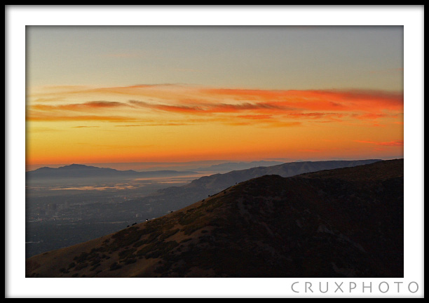 Sunset over Salt Lake City.  Copyright Nate Young and Crux Photo.