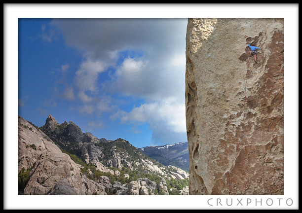 Jess Taverna on Tribal Bounderies at City of Rocks.  Copyright Nate Young and Crux Photo.