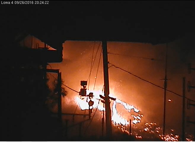 Loma fire from Cruzio security camera, 8:24 pm