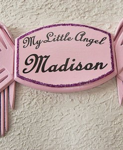 My Little Angel Wall Plaque in Soft Pink – with Pink Angel Wings