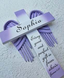 Personalized Angel of the Lord Cross in White – with Violet Wings