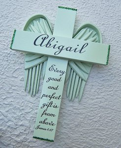 Personalized Angel of the Lord Cross in Green – with Green Wings