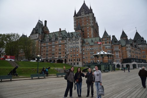 Brenda and her Lab by Chateau Frontenac in Old Quebec City