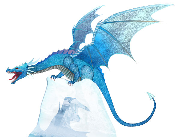 CryoDragon Ice Dragon on Iceberg Facing Left