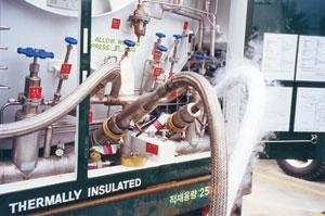 truck mounted liquid helium transfer hose