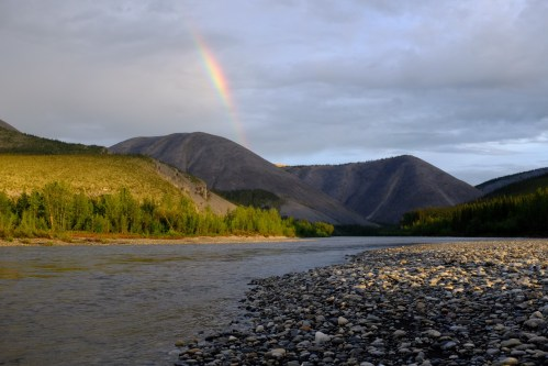 A rainbow at 1:00 am in the Ogilvie Mountains, Yukon.