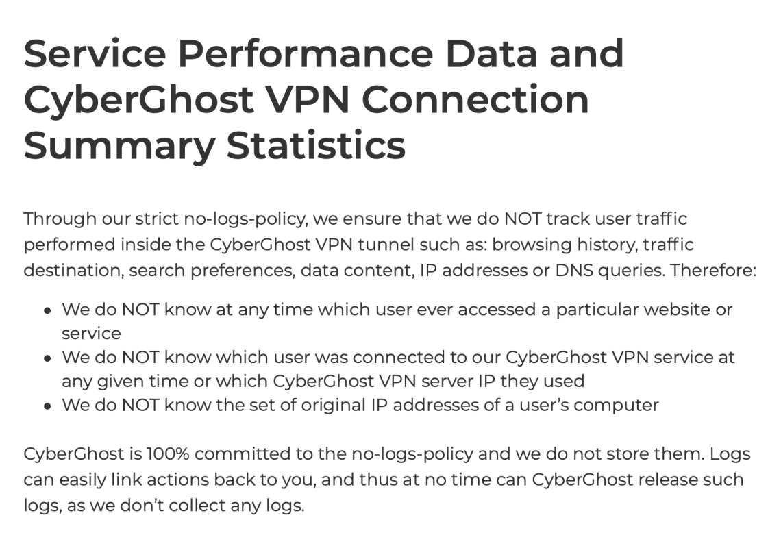 CyberGhost no logs VPN privacy policy