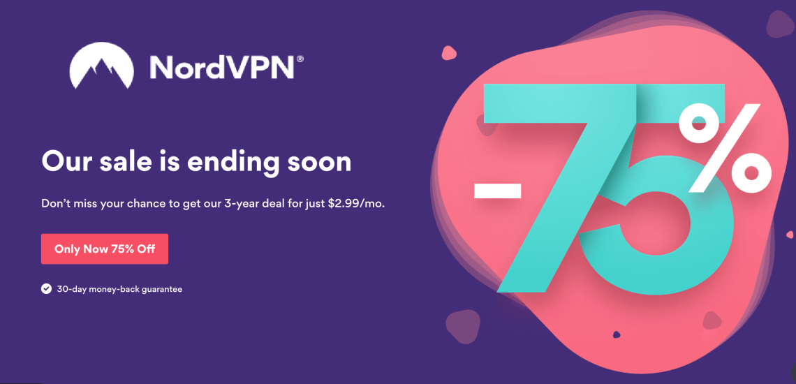 NordVPN Deal 75% discount 2019