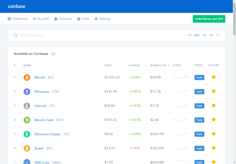 Coinbase Dashboard Screenshot