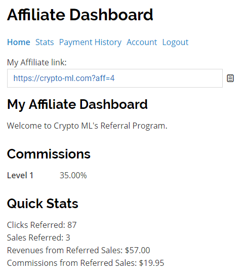 Crypto-ML Affiliate Dashboard 1