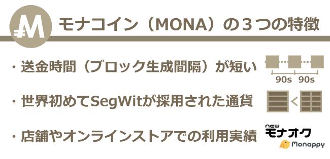 仮想通貨モナコイン(MONA)の特徴