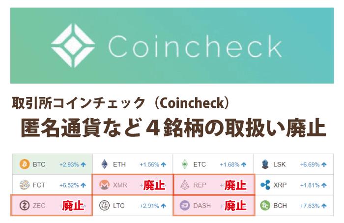 コインチェック┃匿名通貨等4通貨(ZEC,DASH,XMR,REP)を廃止
