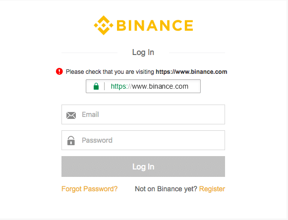 Binance Login Screen