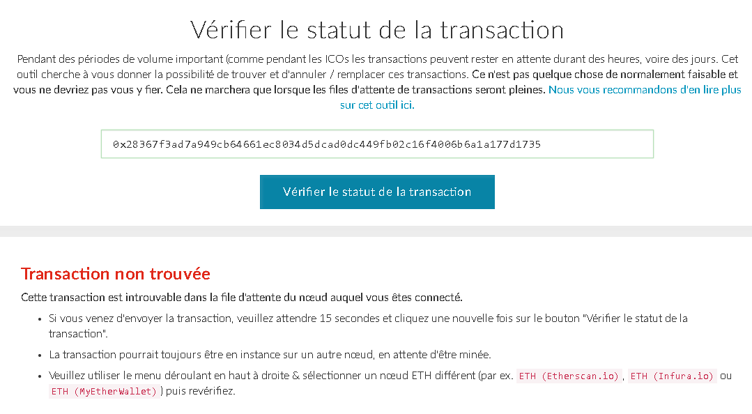myetherwallet-transaction-non-trouvee