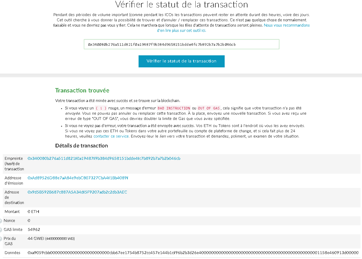 myetherwallet-transaction-trouvee