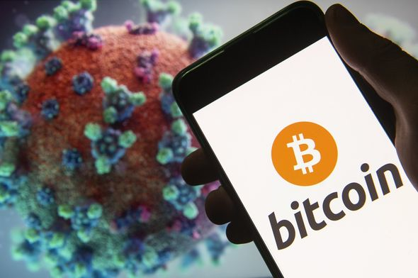 Bitcoin logo with coronavirus computer graphic behind it