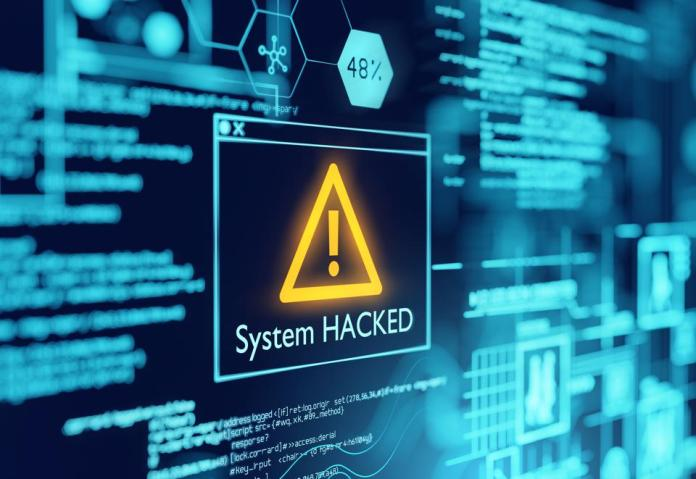A Computer System Hacked Warning
