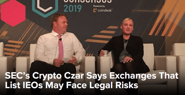 SEC's Crypto Czar Says Exchanges That List IEOs May Face Legal Risks