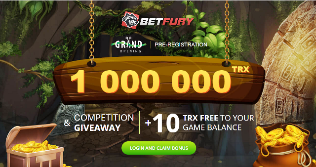 BetFury Giveaway TRX - Receive 10 TRX Free And Chance Of Winning 10,000 TRX