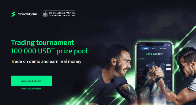 StormGain Contest Airdrop $100,000 USDT Prizes - Trade On Demo Account And Earn Real Money