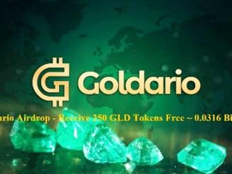 Goldario Airdrop GLD Token - Receive 250 GLD Tokens Free ~ 0.0316 Bitcoin