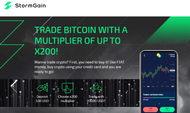 StormGain Overview - Crypto Trading Platform With 200x Leverage