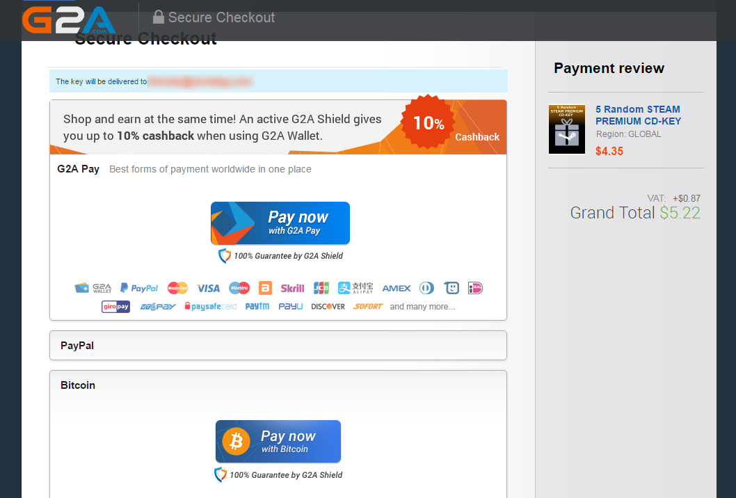 g2a paying with bitcoin